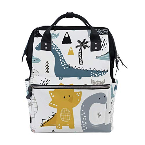 Women Backpack Diaper Bag Baby Nappy Bag, Cartoon Dinosaur Casual Travel Back Pack, Lightweight Maternity Large Capacity Stylish Outdoor Tote Bag for Men Women Mommy Dad Baby Boy Girl Twins