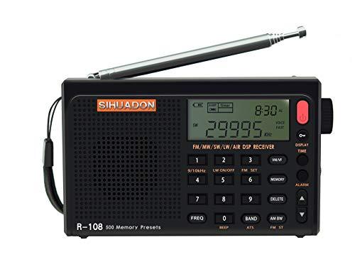 SIHUADON R108 Radio Portatil Pequeña FM Am SW KW MW Banda De Aviación Radio Multibanda con Altavoz Excelente VisualizacióN del Tiempo De RecepcióN RetroiluminacióN De La Radio Digital Negro