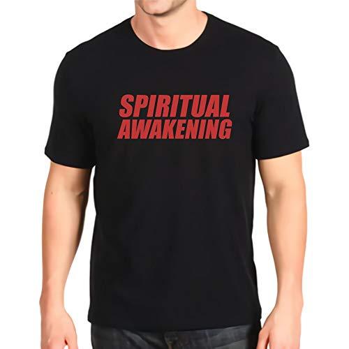 Camiseta de manga corta con cuello redondo, para yoga, despertar espiritual, linda ropa para hombre, de algodón Negro L
