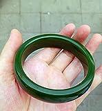 AJU Xinjiang Hetian Jade, Brazalete de Jaspe, Brazalete de Jaspe en Forma de Diamante Verde espinaca, joyería de Moda, 60-62 mm para su Favorito