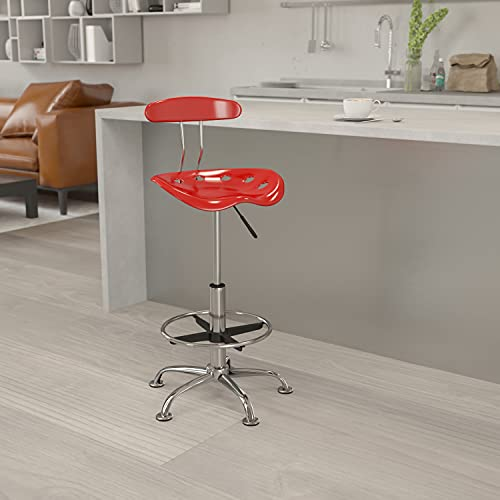 Flash Furniture Vibrant Wine Red and Chrome Drafting ...