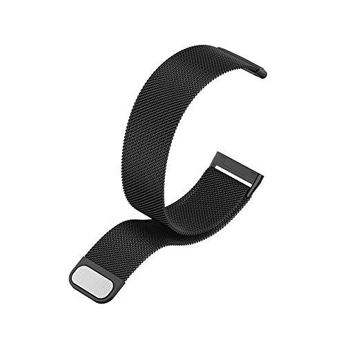 Metall Armband Kompatibel mit Fitbit Versa 3 / Fitbit Sense, mit Magnetverschluss in Schwarz, L