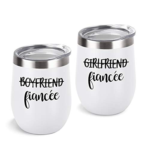 Lifecapido Boyfriend and Grilfriend Wine Tumbler Lesbian Couple Gifts, Engagement Wedding Valentine's Day LGBT Gifts for Girlfriend, 12 Oz Stainless Steel Fiancée Wine Tumbler Set with Lids, White