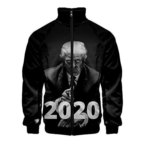 Zkfkgjelgd Trump Pullover Beliebte Jacke mit Print Komfortable Oberbekleidung Stehkragen Loser beiläufigen einfachen Mantel Unisex (Color : A02, Size : Height-175cm(Tag L))