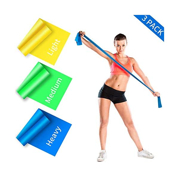 GYTF Long Resistance Bands Set, 3 Pack Skin-Friendly Non-Latex TPE Athletic Elastic Bands, Workout Bands with Portable Pouch for Fitness, Exercise, Strength Training