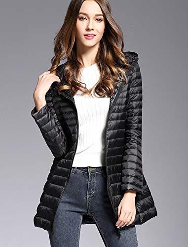 SWAQS dames donsjack voorjaar gewatteerd met capuchon, lange jas, wit, ultralicht, dun, effen, draagbaar, Parkas XXL, zwart