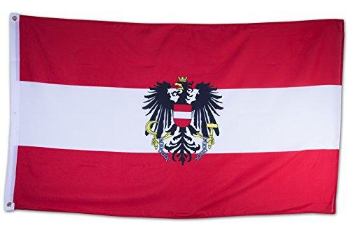 SCAMODA Bundes- und Länderflagge aus wetterfestem Material mit Metallösen (Österreich Wappen) 150x90cm