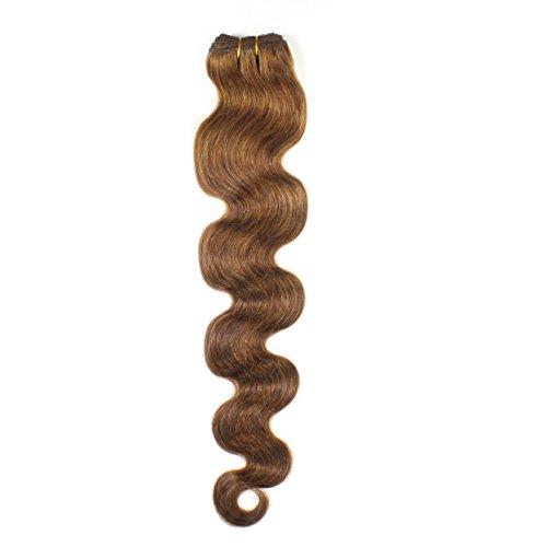 hair2heart 100g Echthaar-Tresse - gewellt - 60 cm - #4 braun