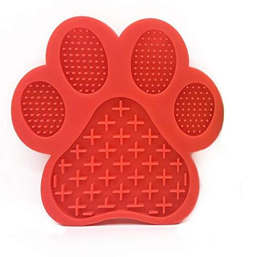 Mascota Perro Almohadilla Labial Perros Tratamiento Lento Tratar Dispensador Ducha Lamer Alfombrilla Aspiraciones a la Pared para el baño de Mascotas Aseo y Entrenamiento de Perros-Tipo B Rojo