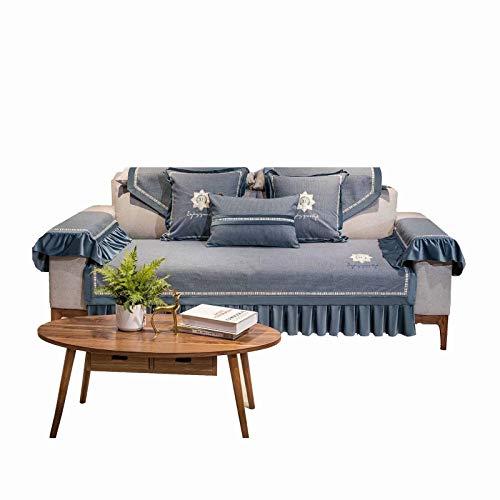 FRTU Elegante funda de sofá para sala de estar, funda protectora de muebles para sofá (2 plazas, 91 x 160 cm), color azul