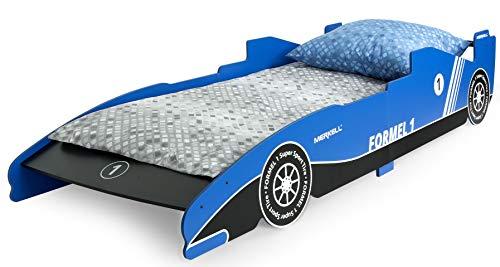 Leomark KINDERBETT Funktionsbett Einzelbett mit Matratze Liegefläche 200x90 Motiv: Formel 1 Blau