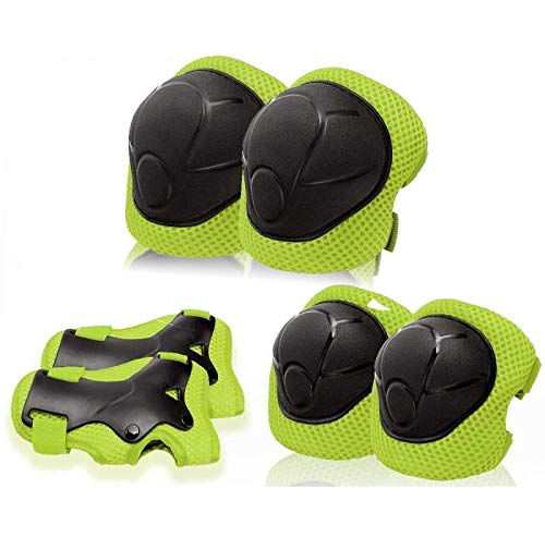 Kids Protective Gear Knee Pads for Kids - KDG Protective Gear Set Knee and Elbow Pads with Wrist Guards 6 in 1 for Skating Cycling Bike Rollerblading Scooter Skateboard Inline Scooter Riding Sports