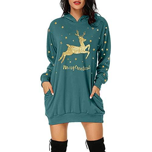VEMOW Weihnachtspullover Kleid Damen, Teenager Mädchen Weihnachten Langarm Hoodie...