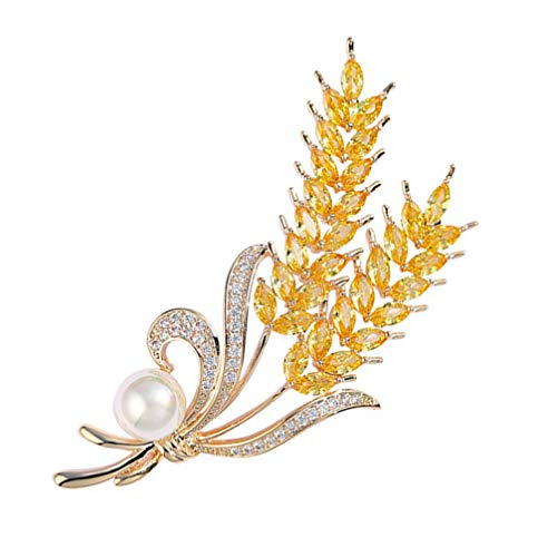 SOIMISS Women Brooches Pin Paddy Wheat Brooch Pin Creative Pearl Lapel Pin Breastpin for Women Girls Clothes Pin Jewelry Gift