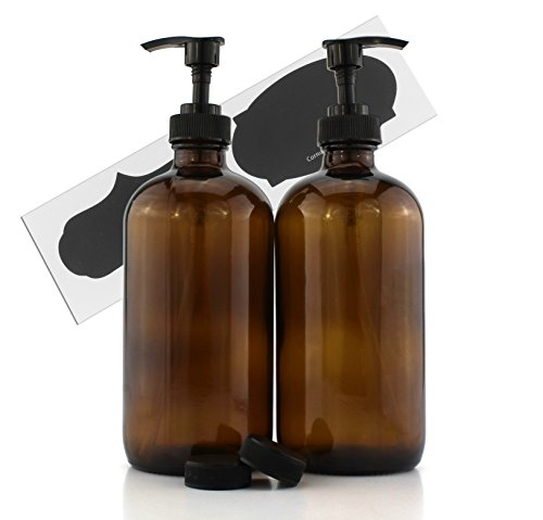 Cornucopia Brands 16-Ounce Amber Glass Bottles w/Pump Dispensers (2-Pack); Refillable Lotion Liquid Soap Pump Brown Bottles + Chalk Labels & Lids, BPA-Free Plastic Tops; Also for Hand Care