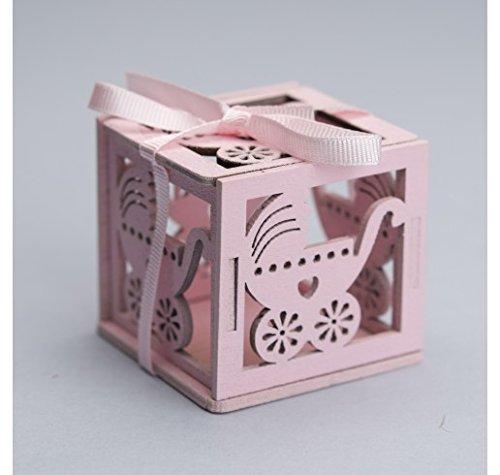 'Pack 20 pièces, Bonbonnière Boîte en bois ajourée, (cm 5 x 5) x marque place, portaconfetti. (ck5070) rose