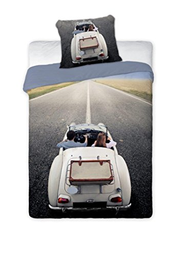Maxi&Mini - Cabriolet Linge DE LIT Parure Housse DE Couette 160x200 + TAIE 70x80 DÉCO Vintage Chambre ADO 100% Coton