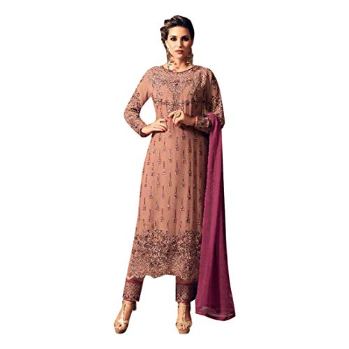 ETHNIC EMPORIUM Dames Bollywood feestelijke bruiloft recht Salwar Kameez pak broek stijl Churidar Dupatta muslimische Inder 7356 43485 zoals getoond