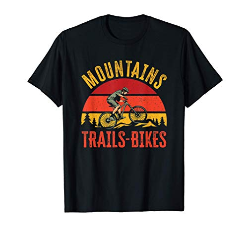Mountains Trails Bikes | Vintage Downhill Mountain Biking T-Shirt