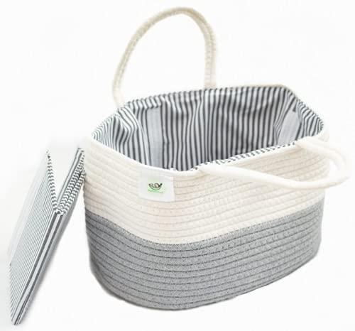Diaper Caddy Basket - Baby Diaper Organizer - Diaper Caddy Organizer for Diapers, Wipes, Toys - Diaper Organizer for Changing Table - Small Diaper Caddy - Portable Diaper Caddy for Nursery and Car