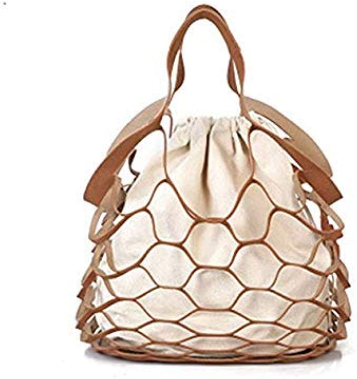 Bloomerang Women Handbags Hollow Out Mesh Design Net Canvas Composite Bag Ladies Drawstring Tote Casual Beach Bags Summer New Famous Brands color Brown