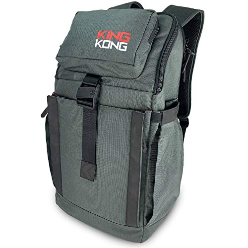 """King Kong Backpack II - Military Spec Nylon Gym Backpack with Expandable Pockets and Heavy Duty Buckles for Active Lifestyle - 20"""" x 13"""" x 7"""" - Charcoal"""