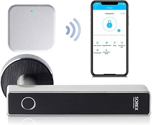 SOREX FLEX Türgriff Elektronisch Fingerabdruck Schloss mit Bluetooth App steuerbar, Elektronisches Fingerprint Türschloss, Smart Lock Türklinke, Alexa und Google kompatibel