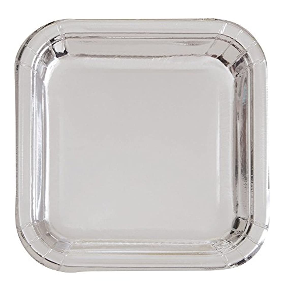 Square Foil Silver Paper Cake Plates, 8ct