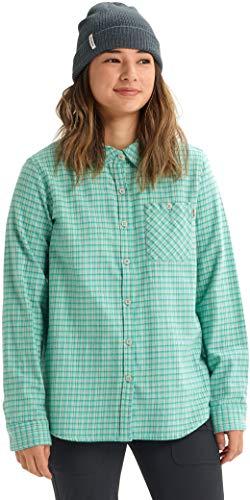 Burton Damen Women's Grace Long Sleeve Woven Button-Down-Shirts, Grün-Blau Foraker Plaid, Größe S