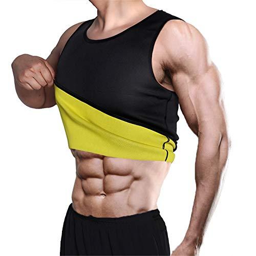 YYDM Men's Weight Loss T-Shirt, Neoprene Belly Fat Burning Corset, Weight Loss Belt, Belly Fat Burner, for Sauna, Fitness, Strength Training,Black,S