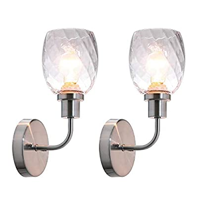 XiNBEi Lighting Wall Sconce, 1 Light Bathroom Vanity Wall Light with Clear Glass, Brushed Nickel Finish 2 Pack XB-W1210-1-2BN