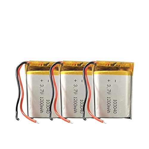 3 Uds 3.7v1200mah Batería Recargable De PolíMero De Litio 103040, para Reproductor Mp3 Mp4 Mp5 Auriculares Reloj Inteligente Altavoz Juguete EléCtrico