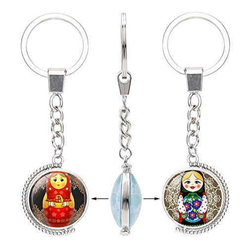 YANYING Persönlichkeit Schlüsselbund RussischeMatroschkaDoppelseitig Rotierenden Kristall Anhänger Schlüsselring Anhänger13305202