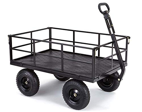 Gorilla Carts GOR1200-COM Heavy-Duty Steel Utility Cart with Removable Sides and 13' Tires, 1200-lbs. Capacity, Black