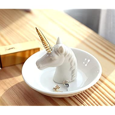 Eastyle White Unicorn Small Jewelry Rack Rings Bracelets Earrings Trays Holder