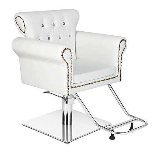 Paddie Salon Barber Chair All Purpose Deluxe Hydraulic Vintage Classic Hair Stylist Equipment for Barbershop Beauty Spa Shampoo, White