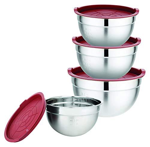 XSQUO Useful Tech Set Gourmet Tools Ciotole in Acciaio con Coperchio ermetico in Silicone, Metallo, Rosso, 13,40 x 23,40 x 22, 80
