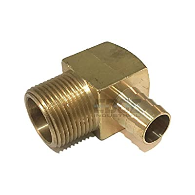 """EDGE INDUSTRIAL 3/4"""" Hose ID to 1"""" Male NPT MNPT 90 Degree Brass Elbow Fitting Fuel / AIR / Water / Oil / Gas / WOG"""