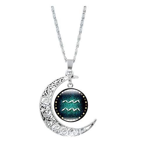 Luckyee Women Necklace Fashion Crystal Ornament Glass Ball 12 Divination Time Gemstone chain Jewelry Valentine's Day Gift Birthdays Persents for Girl Friend