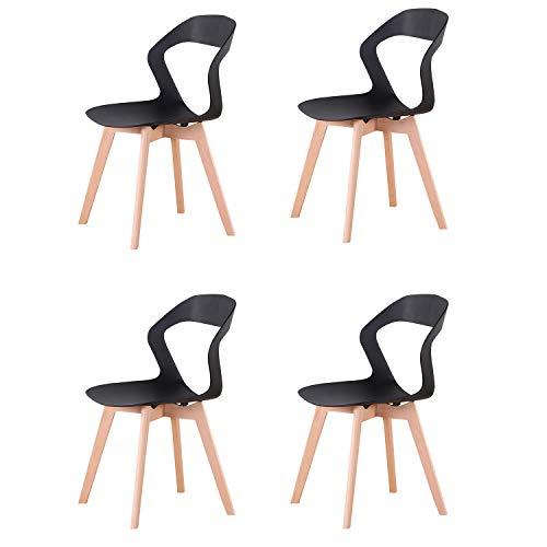 GroBKau Lot de 4 Chaises à Dossier en Plastique Moderne pour Salon, Salle à Manger, Bureau, Salle de Réunion, Restaurant, etc. (Noir)