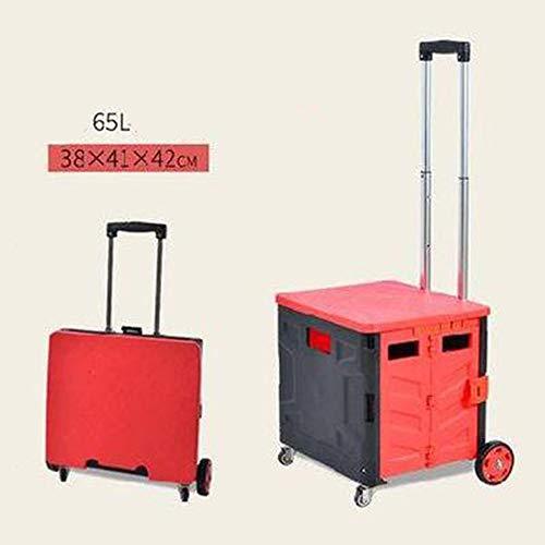 Shopping Cart mit Deckel I Einkaufstrolley faltbar auf 8 cm Höhe I Handwagen mit großer 50 L Klappbox I Einkaufswagen mit integriertem Sitz und Teleskopgriff(D)