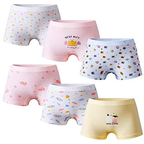 Growth Pal Girls' Panties Boyshort Briefs 6 Pack Soft 100% Cotton Underwear Toddler Undies for Girls-PJ13-110#