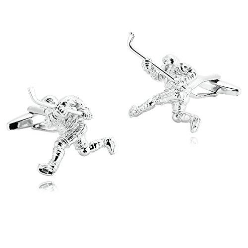 Daesar Schmuck 1 Paar Herren Edelstahl Manschettenknöpfe Silber Eishockey Manschettenknopf 3 x 2.9 cm