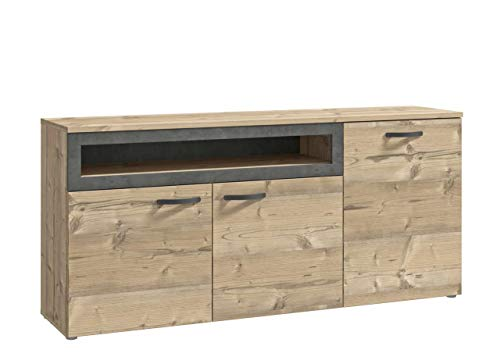 FORTE Sideboard mit drei Türen und offenem Fach, 180cm breit, mit Soft-Close