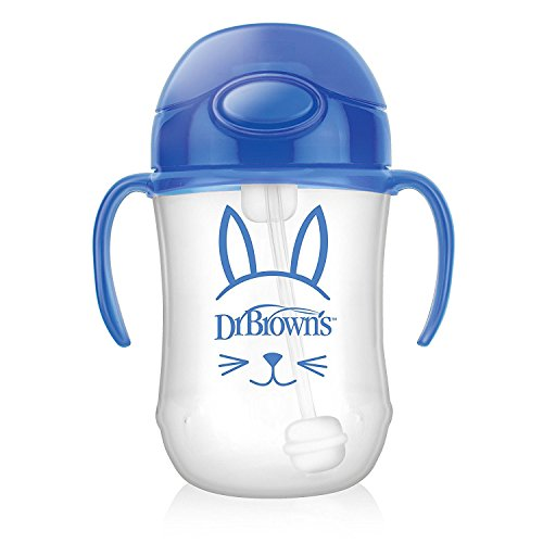Dr Brown 's Baby 's First drinkbeker met rietje, 270 ml, blauw