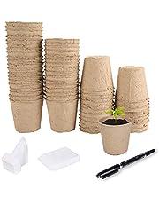 Herefun Macetas Biodegradables, Macetas de Turba Ø82mm, Macetas de Turba para Plantas, con 100 Etiquetas para Plantas