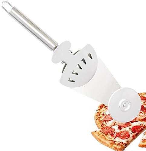 Cortador de pizza 3 en 1, cuchillo de pizza, cortador de pizza creativo multifunción de acero inoxidable con clip fijo para regalos de fiesta, cortador de pizza para hornear pizza