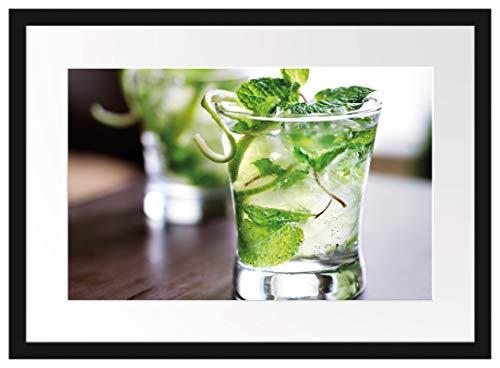 Picati Cocktail mit Pfefferminz Bilderrahmen mit Galerie-Passepartout | Format: 55x40cm | garahmt | hochwertige Leinwandbild Alternative
