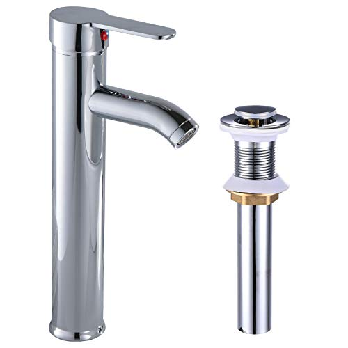 Bathroom Vessel Sink Faucet Single Handle Chrome Polish Lavatory Vanity Mixer Bar Bowl Sink Tap with Pop Up Drain Tall Spout Single Hole Deck Mount