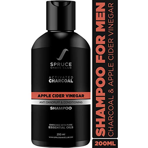 Spruce Shave Club Charcoal Shampoo For Men with Apple Cider Vinegar & Biotin For Dandruff Control | Natural Anti Dandruff Shampoo | Paraben, Sulfate Free & Vegan